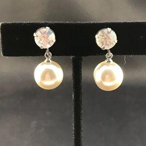 Vintage pearl and rhinestone screw back earrings
